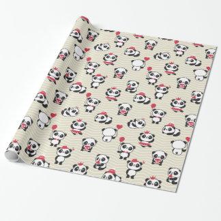 Black, White, & Pink Pandas Wrapping Paper