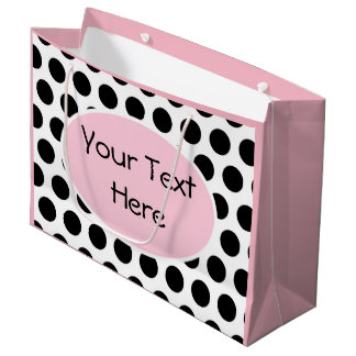 Black White Pink Polka Dot Custom Gift Bag