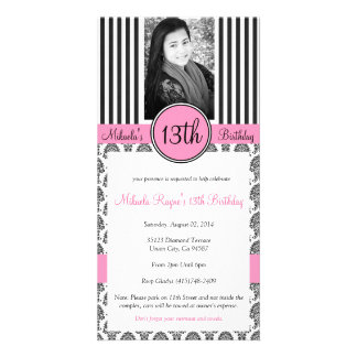 Black, White & Pink Stripe Invite Photo Card