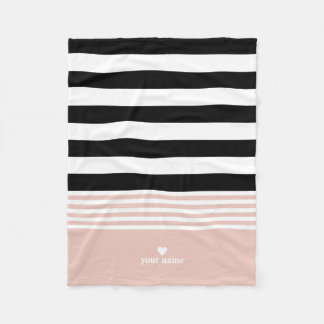 Black, White & Pink Striped Personalized Fleece Blanket