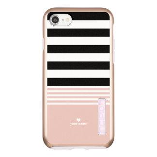 Black, White & Pink Striped Personalized Incipio DualPro Shine iPhone 8/7 Case