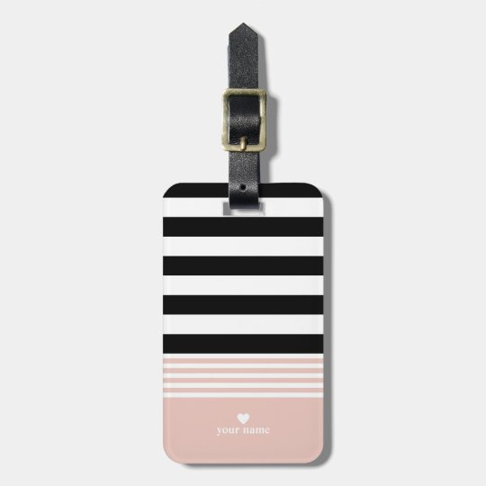 Black, White & Pink Striped Personalized Luggage Tag