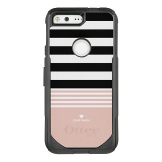 Black, White & Pink Striped Personalized OtterBox Commuter Google Pixel Case