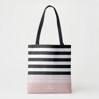 Black, White & Pink Striped Personalized Tote Bag