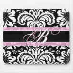 Black White & Pink Vintage Floral Damask Pattern Mouse Pad