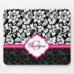 Black White & Pink Vintage Floral Damasks Mouse Pad