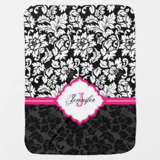 Black White & Pink Vintage Floral Damasks Swaddle Blankets