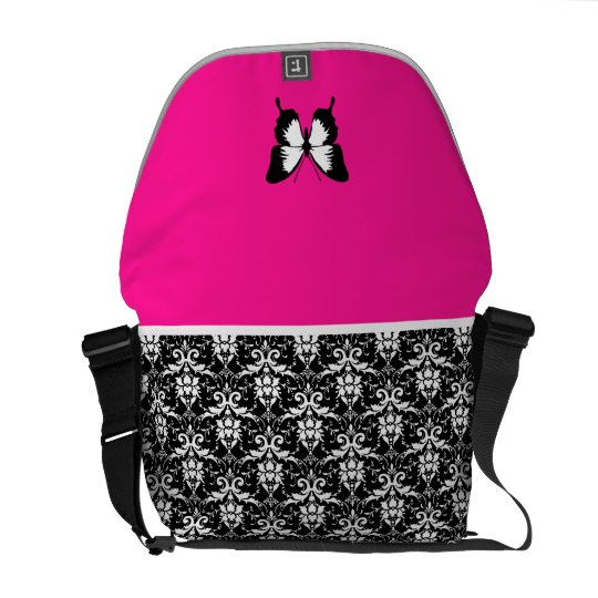 Black & White & Pink with Wings Messenger Bag