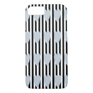 BLACK/WHITE PINSTRIPE GREY HEART iPHONE 7/8 CASE