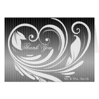 Black White Pinstripe Heart Wedding Thank You Card