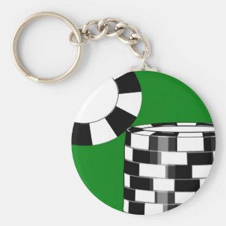 Black white poker chips on green basic round button keychain