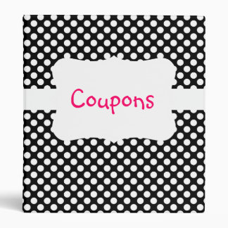 Black/White Polka Dot Coupon organizer Binders