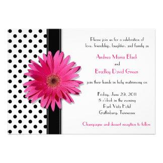 Black White Polka Dot Daisy Wedding Invitation