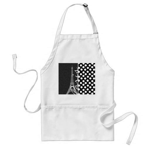 Black & White Polka Dot, Dots; Paris Aprons