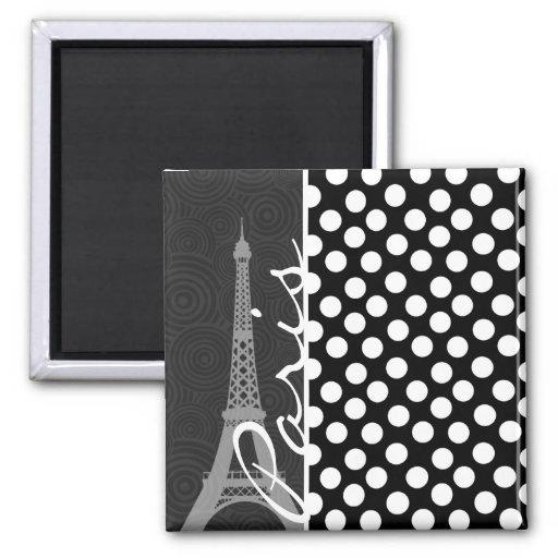 Black & White Polka Dot, Dots; Paris Magnet
