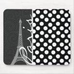 Black & White Polka Dot, Dots; Paris Mouse Pad