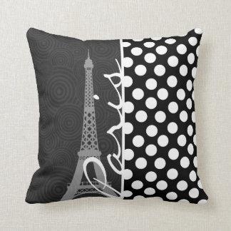 Black & White Polka Dot, Dots; Paris Throw Pillow