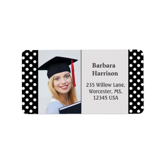 Black white polka dot Graduation photo