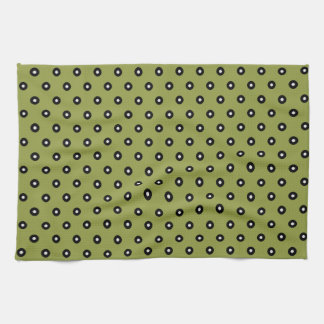 Black/White Polka Dot Green Background(Changeable) Kitchen Towel