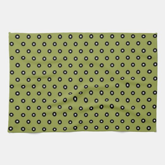 Black/White Polka Dot Green Background(Changeable) Kitchen Towels