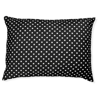 Black White Polka Dot Large Dog Bed