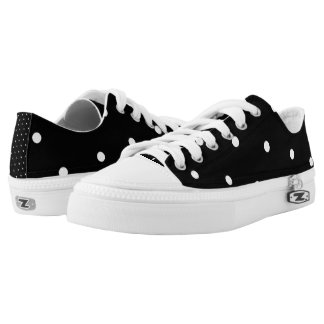 Black/White Polka Dot Low-Top Sneakers