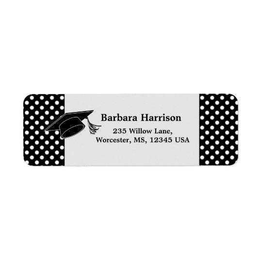 Black white polka dot, mortar Graduation
