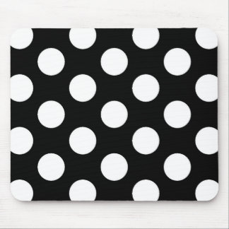 Black White Polka Dot - Mousepad
