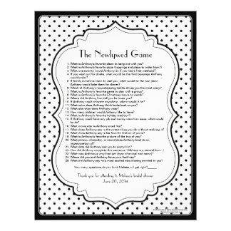 Black White Polka Dot Newlywed Bridal Shower Game Custom Letterhead