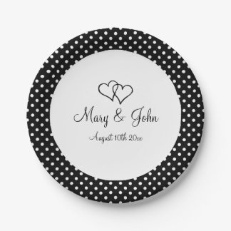 Black & white polka dot paper wedding party plates 7 inch paper plate