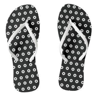 Black/White Polka Dot Pattern Flip Flops