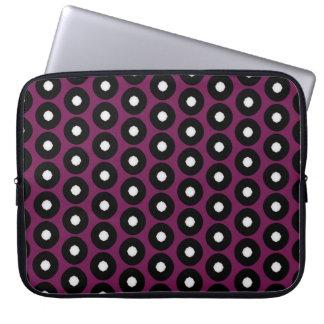 Black/White Polka Dot Pattern Laptop Sleeve