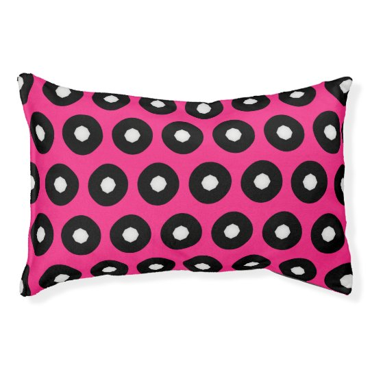 Black/White Polka Dot Pink Background (Changeable) Pet Bed