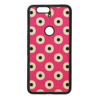 Black/White Polka Dot Pink Background (Changeable) Wood Nexus 6P Case
