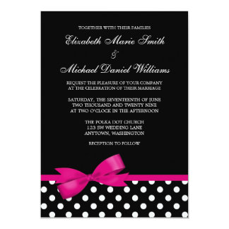 Black White Polka Dot Pink Bow Wedding Card