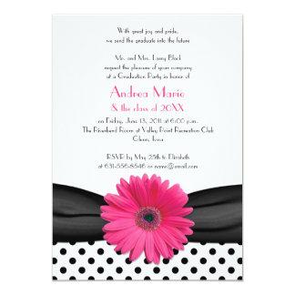 "Black White Polka Dot Pink Daisy Graduation 5"" X 7"" Invitation Card"
