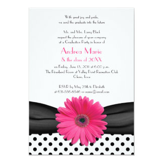 Black White Polka Dot Pink Daisy Graduation Card