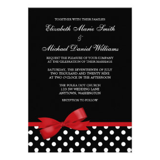 Black White Polka Dot Red Bow Wedding Announcements