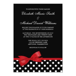 "Black White Polka Dot Red Faux Bow Wedding 5"" X 7"" Invitation Card"