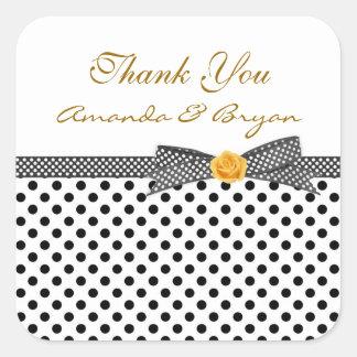 Black white Polka dot rose Thank you Sticker