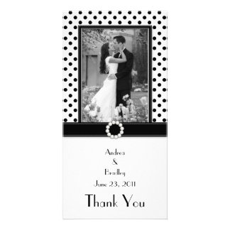 Black White Polka Dot Wedding Photo Photocard Photo Greeting Card
