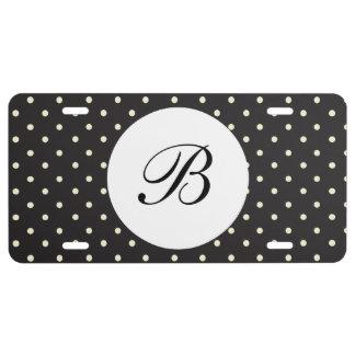 Black & White Polka Dots Monogram License Plate