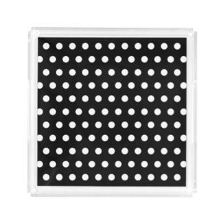 Black & White Polka Dots Pattern Acrylic Tray