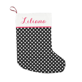 Black White Polka Dots Personalized Small Christmas Stocking