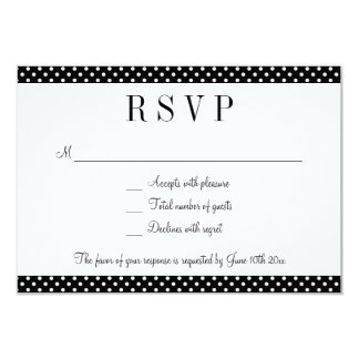 "Black & white polka dots RSVP wedding reply cards 3.5"" X 5"" Invitation Card"