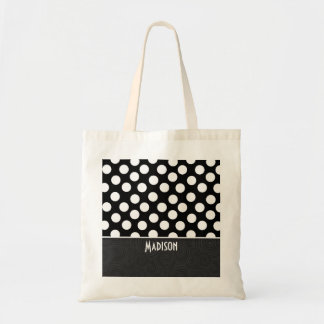 Black & White Polka Dots Tote Bag
