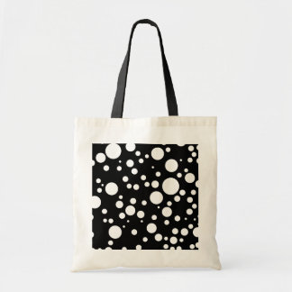 black white polka-dots tote bag