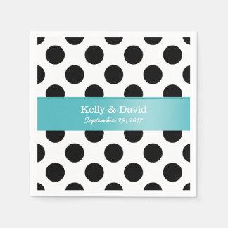 Black & White Polka Dots Turquoise Ribbon Wedding Paper Napkins