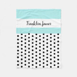 black/white polka dots w blue/white; personalized fleece blanket