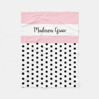 black/white polka dots w pink/white; personalized fleece blanket